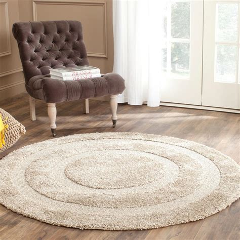Safavieh Florida Shag Beige 5 Ft X 5 Ft Round Area Rug 5 Foot Area Rugs