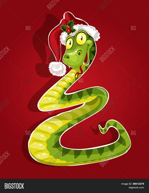 cute christmas snake bent form vector photo bigstock
