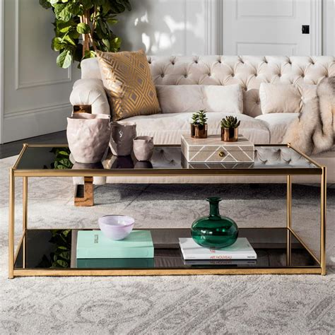 gold coffee tables living room safavieh zola glass gold coffee table gold living room
