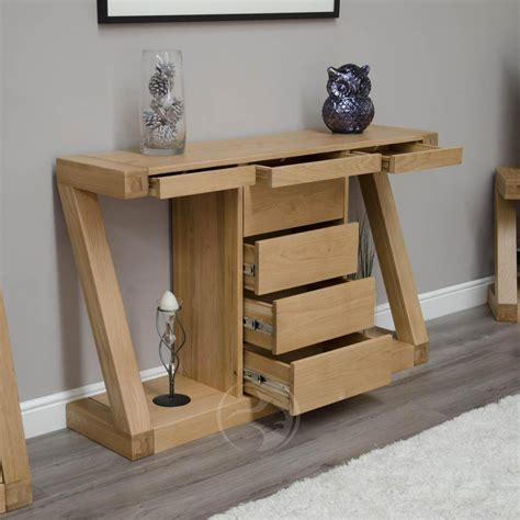 Z shape solid oak large hall console table with drawers oak furniture uk