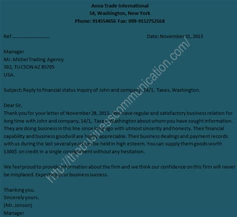 Business Letter Response To Inquiry sle of reply letter to business status inquiry letter