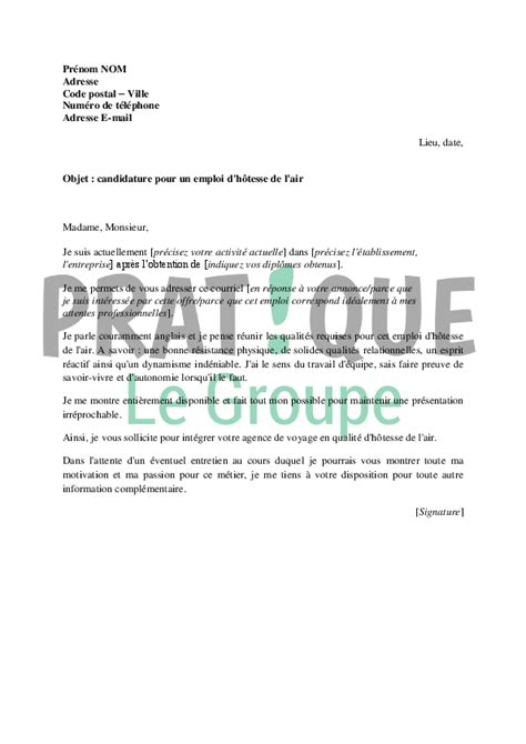 Exemple De Lettre De Motivation Hotesse Lettre De Motivation Pour Devenir H 244 Tesse De L Air Pratique Fr