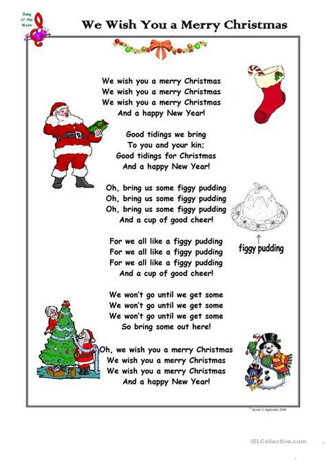 christmas song     merry christmas worksheet  esl printable worksheets