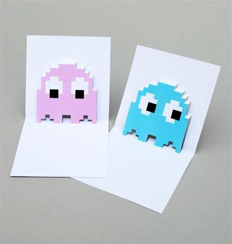 Pacman Ghost Popup Cards Jack Skellington Pinterest Pac Man Free Printable And Popup Pop Up Card Templates 2