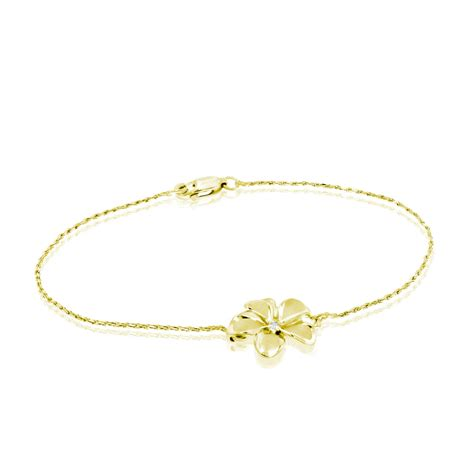 14k gold plumeria rope chain bracelet with