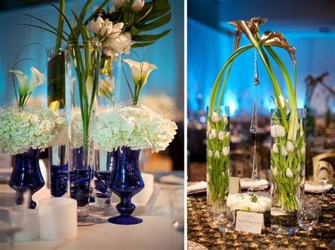 Blue Vases For Wedding by Chic White And Blue Wedding Reception Centerpieces Using