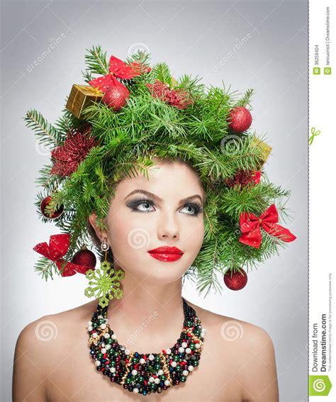 beautiful creative xmas makeup and hair style indoor shoot
