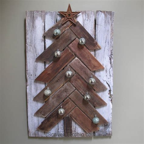 simple xmas wood pallet wood tree diy scavenger chic
