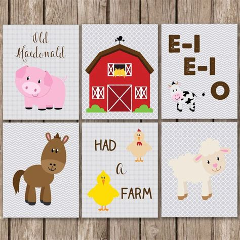 Farm Animal Nursery Decor Farm Animal Print Set Set Of 6 Macdonald Cow Sheep Farm Animals Nursery
