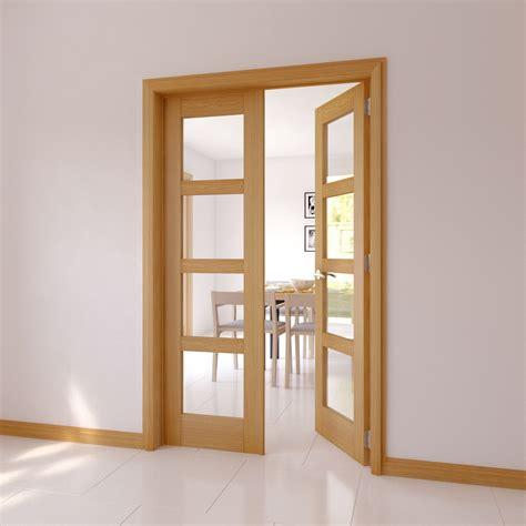 lite clear glazed  panel shaker internal french door