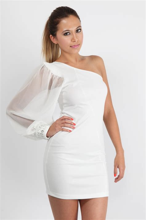 white one shoulder cocktail dress gt gt busy gown - White Cocktail Dresses