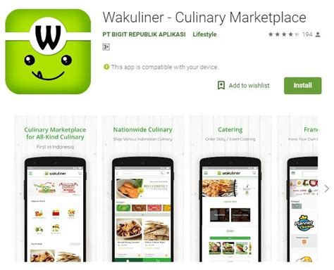 wakuliner marketplace kuliner pertama  indonesia