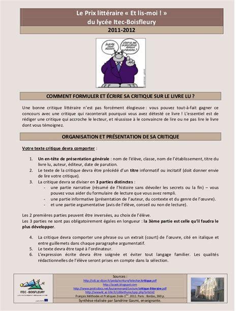 Resume D Un Article by Formuler Et 233 Crire La Critique D Un Livre Lu