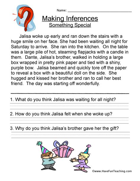 Inference Worksheets 5th Grade by Inferences Worksheet Teaching