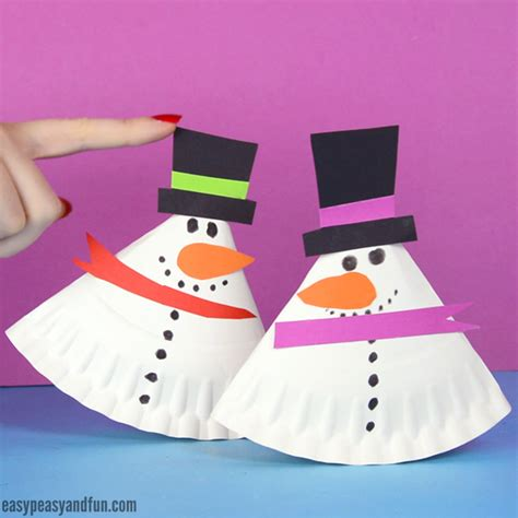 Snowman Paper Plate Craft - rocking paper plate snowman easy peasy and