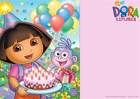 dora the explorer templates for invitations free printable dora the explorer party invitation template