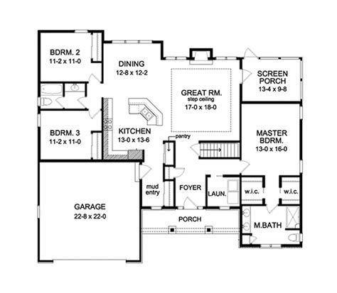 ranch style house plan 3 beds 2 baths 1824 sq ft plan