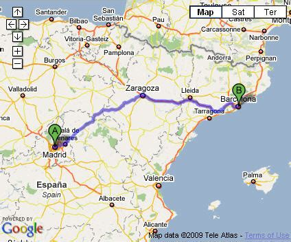 barcelona to madrid madrid barcelona map