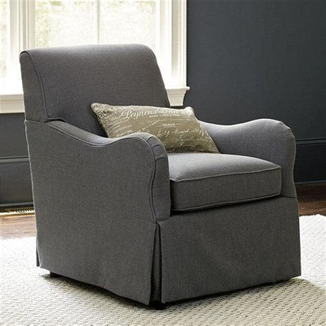 elsie swivel glider club chair in gray fabric for