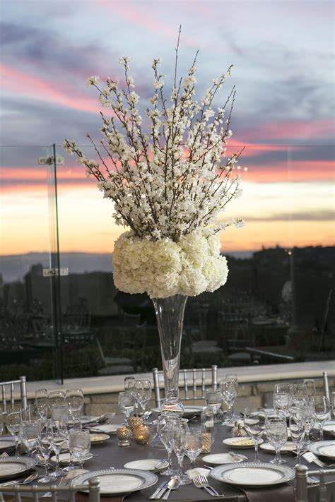 cherry blossom and hydrangea centerpiece floral