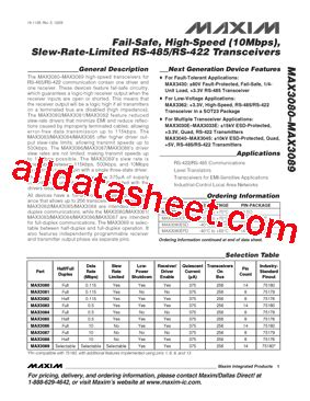 datasheet transistor mdl 3088 max3088csa データシート pdf maxim integrated products