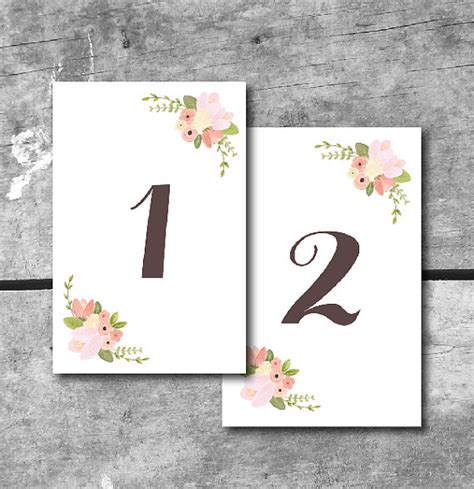 free printable table numbers 1 10 items similar to instant download rustic floral table