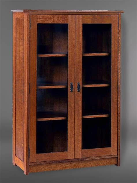 Mission Style Bookcase With Glass Doors Arts Crafts Mission Style Solid Oak Door Glass Bookcase 1 199 99 Via Etsy I