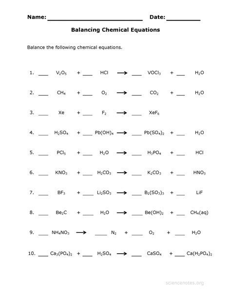 Chemical Reactions Worksheet by Balancing Chemical Equations Worksheet Answers