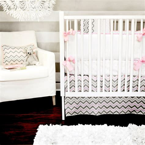 Pink And Gray Chevron Crib Bedding by Chevron Fabric Trend