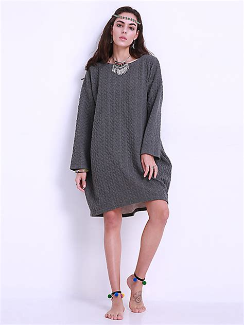 Dress Pocket Longsleeve by Plus Size Dresses Pocket Sleeve O Neck