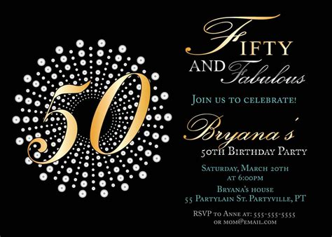 fifty and fabulous birthday invitations 50th birthday party