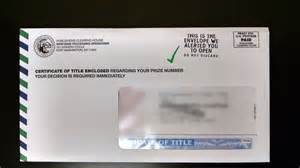 did you receive a certificate of title in the mail pch