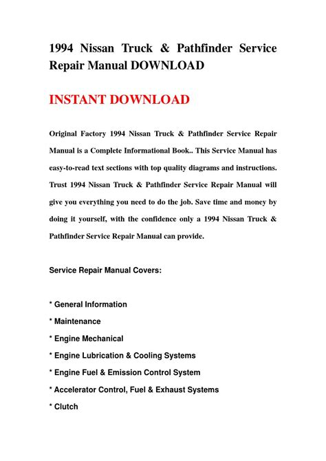2003 nissan pathfinder factory service manual complete 4 volume set factory repair manuals 1994 nissan truck pathfinder service repair manual download by jsjmefsnen issuu