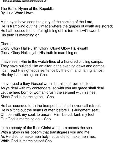 printable lyrics to battle hymn of the republic battle hymn of the republic lyrics and sheet music