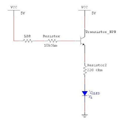 ldr pada resistor rangkaian sensor cahaya dengan ldr