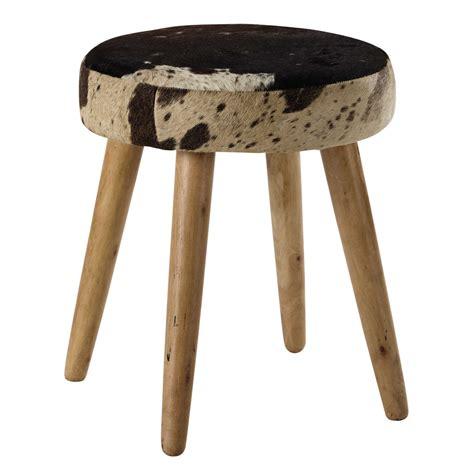 Mango Wood Stool by Alexy Mango Wood And Cowskin Stool Maisons Du Monde