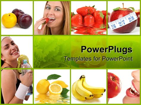 powerpoint template healthy diet with collage of