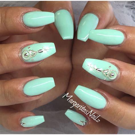 mint color nails mint green coffin nails nails green nails mint green