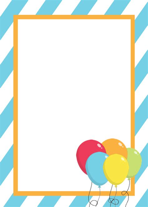 blank template for birthday card free printable birthday invitation templates