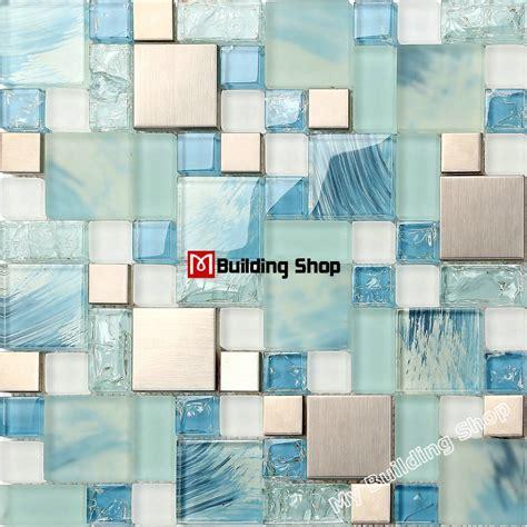 blue mosaic tile backsplash blue glass mosaic glass tiles backsplash ssmts306 silver