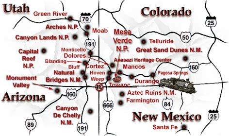 road map four corners usa four corners
