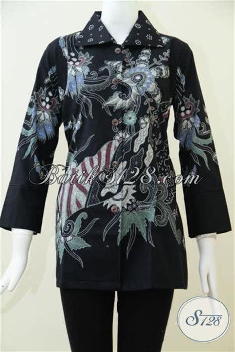 Blus Rok Batik Warna Kode Ba5281 baju batik formal warna hitam elegan untuk wanita baju