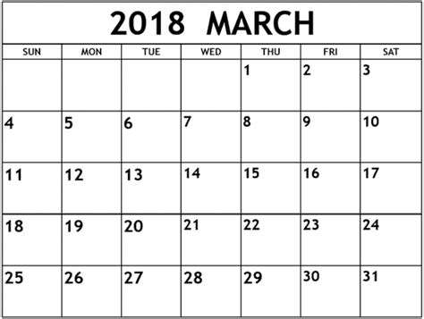 printable march 2018 calendar templates march 2018 calendar printable template usa canada uk