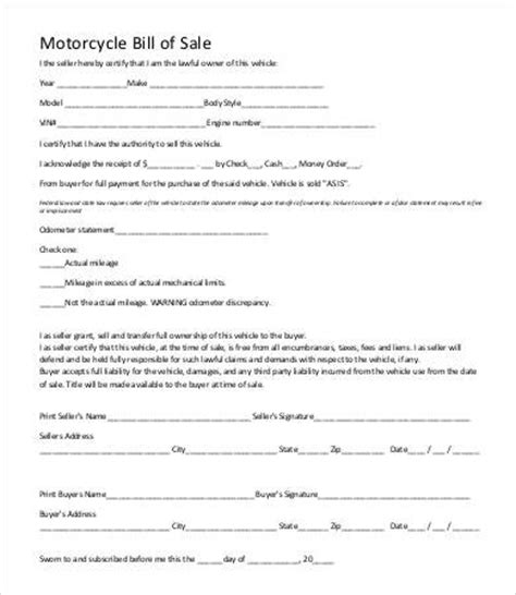 bill of sale for motorcycle template motorcycle bill of sale template 9 free word pdf