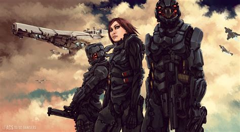 concept ranger sci fi soldier concept art poster