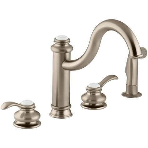 kohler touch kitchen faucet kohler fairfax 2 handle standard kitchen faucet with side sprayer in vibrant brushed bronze k
