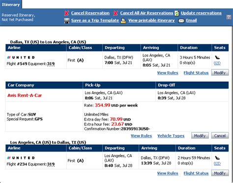 flight itinerary sop exle