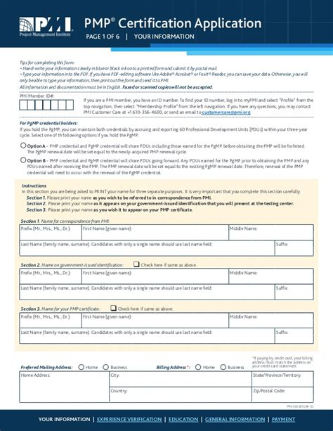 Pmp Application Spreadsheet by Pmp Application Form Ashx