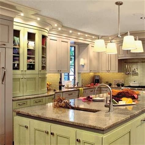green and cream kitchen glidden pistachio ice cream is the paint name and we love