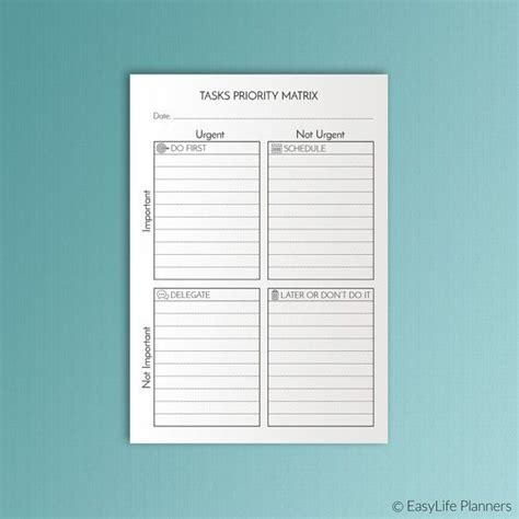 Tasks Priority Matrix Printable Eisenhower By Easylifeplanners Bullet Printables Eisenhower Decision Journal Template